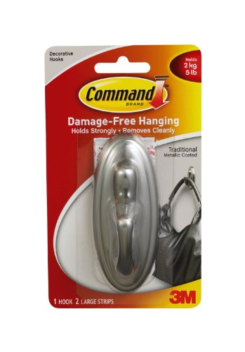 Command Traditional Medium Plastic Hooks, Brushed Nickel, 2-Hook (Package include Retractable Pen)