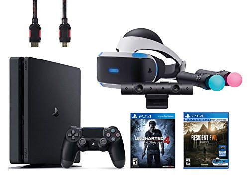 PlayStation-VR-Bundle-5-ItemsVR-HeadsetPlaystation-CameraPlaystation-Move-Motion-ControllersPlayStation-4-Slim-500GB-Console-Uncharted-4VR-Game-Disc-Resident-Evil-7Biohazard