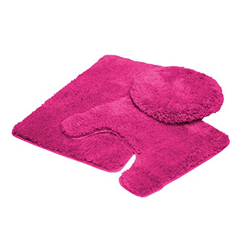 Mary 3 Piece Bathroom Rug Set, Luxury Soft Plush Shaggy Thick Fluffy Microfiber Bath Mat, Countour Rug, Toilet Seat Lid Cover, Non-slip Rubber Back, Floor Mats Water Absorbent (Fuchsia)