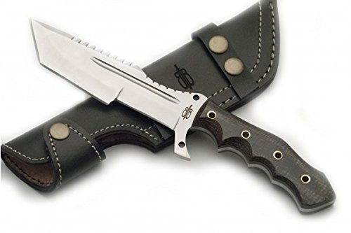 BucknBear Custom Handmade 440C Stainless Steel Tanto Tracker Fixed Blade Knife (Black/Yellow G10)