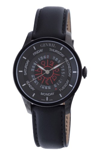 Gevril Columbus Circle Mens Swiss Automatic Black Leather Strap Watch, (Model: 2001) ()
