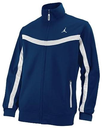NIKE Air Jordan Men's Basketball Warm up/Track Jacket (Small, Navy/White