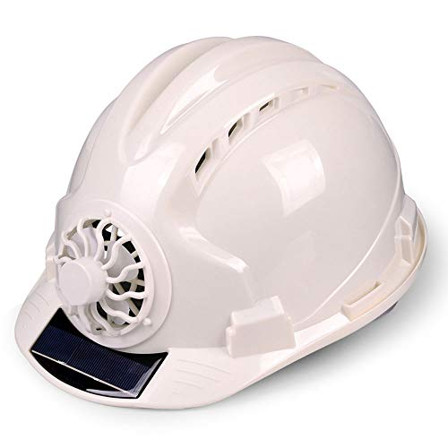 YAN JUNau Adjustable Helmet with Solar Fan, ANSI-Compliant, Personal Protective Equipment for Construction, Home Improvement and DIY Projects/PP (4 Colours) (Color : B: White) ()