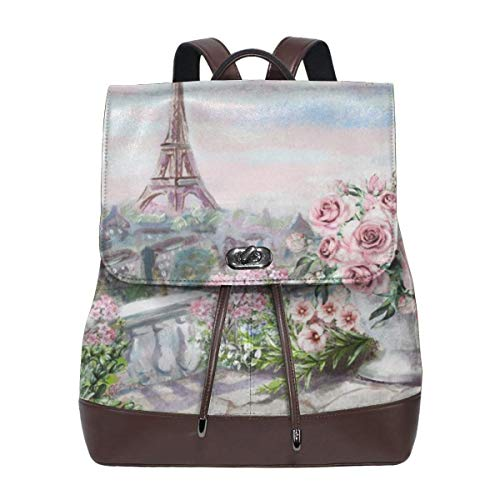Pink Oil Painting For Paris City Womens Leather Backpack Vintage Laptop Backpack Travel Daypack College School Bookbag For Women Girls & Students