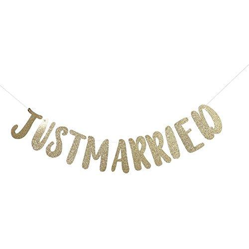 (Pack of 2)JUST MARRIED Wedding Banner Wedding Decorations Hanging Congrats Banner Gold Glitter Sign Garland for Wedding Bridal Shower Bachelorette Party Decorations Photo Props(just married-金色) -