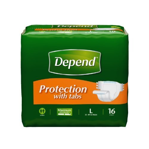 [Depend Fitted Maximum Protection with Tabs Briefs Size Large 16 Count by Depend] (Fitted Maximum Protection Briefs)