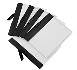 Storex Poly Report Cover with Swing Clip, 5 Pack, Black Stripe (51264U01C)