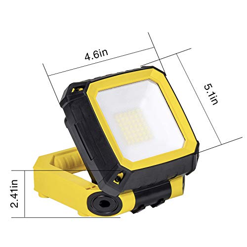 LOVORK Rechargable LED Work Light with Magnetic Base,900lm 6500K Daylight Portable Hanging Hook Job Site Lighting for Outdoor Camping,Workshop,Construction,Car Repairing,Waterproof,Yellow