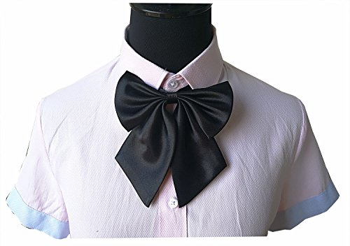 (Student bowknot adjustable neck bow ties for women (Black))