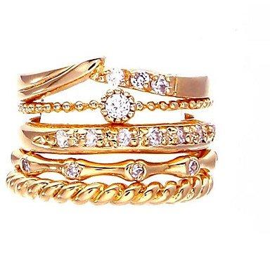 5 Pieces European Style Zircon Fashion Gold Circle Ring Settings