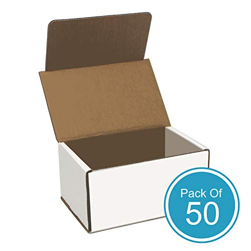 White Cardboard Shipping Box - Pack of 50, 6 x 4 x 3 Inches, White, Corrugated Box