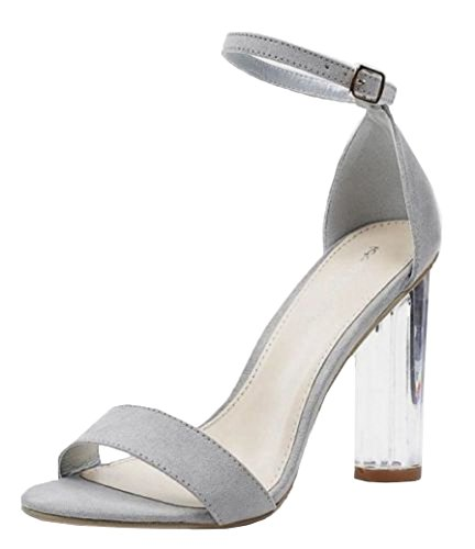 SHU CRAZY Womens Ladies Faux Suede Clear Perspex High Block Heel Ankle Buckle Strap Open Toe Summer Fashion Sandals Shoes - C47 Grey l74T7WS