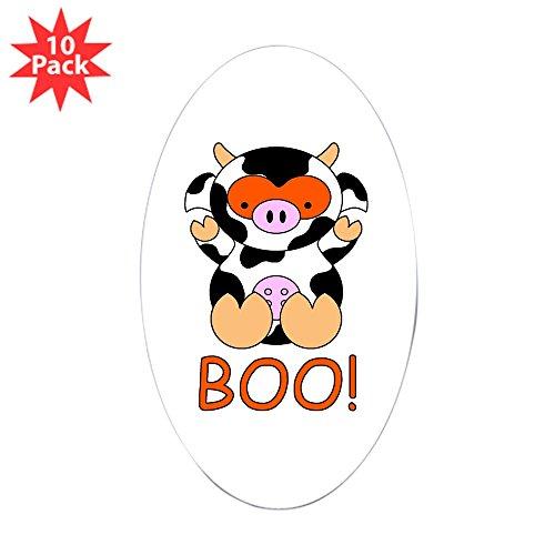 CafePress - Halloween Cow - Oval Sticker (10-Pack), Bumper Sticker, Car Decal, Euro -