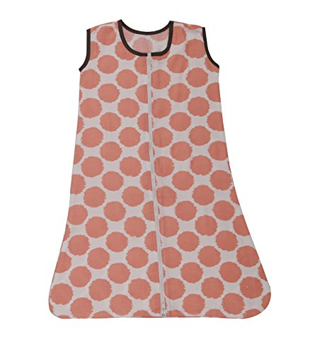 Bacati Muslin Ikat Dots Wearable Blankets, Coral/Grey, (Collection Baby Sack)