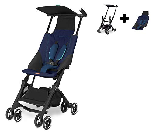 GB Pockit Go + Stroller Bundle (Infant Carrier and Seat Inlay) New for 2020!! (Sapphire Blue)