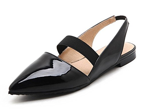 Aisun Unique Closed Strappy Womens Black Pointed Dress Toe On Shoes Flats Slingback Sandals Slip qqwAFrn5