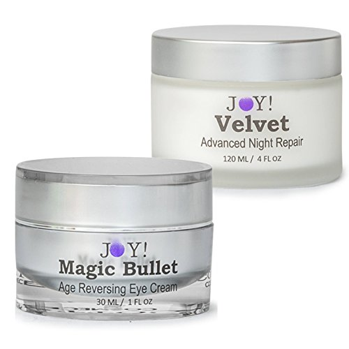 JOY! Magic Bullet & Velvet Duo America's Best of 2017. Age Reversing Eye Cream. Face and Neck Cellular Rejuvenation. Repair Wrinkles, Puffiness, Dark Circles and Bags. 60 Day Supply