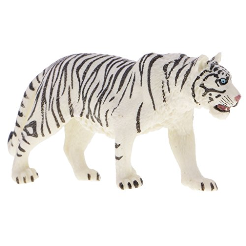 MagiDeal Environmental PVC Realistic Zoo Figures Jungle Wild Animals Siberian Tiger Figurine Kids Toy Party Bag Favor White