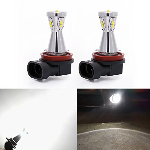 Interior Aluminum Body (XSPEED H11 H8 Extremely Bright 45w High Power LED Fog Light Bulbs Lamps Chrome Plated Aluminum Body Xenon White For DRL or Fog Lights Replacement (2018 Version))