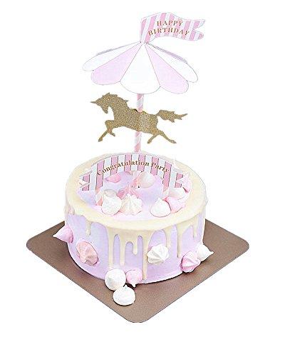 Carousel Happy Birthday Cake Bunting Topper Cake Topper Garland, Birthday Party Cake Decorations (PINK) - Carousel Cake Decorations