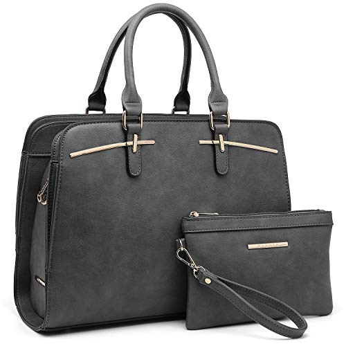 (Women Handbags Satchel Purses Top Handle Work Bag Briefcases Tote Bag With Matching Wallet (2-Grey))
