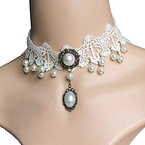 Noopvan Fashion Girl Handmade Gothic Retro Pearl Vintage Lace Collar Choker Necklace (White)