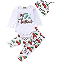 Xmas gift Baby Girls Boys Clothes My 1st Thanksgiving Outfit Infant Long Sleeve Romper Tops+Pants+Headband Clothes Set