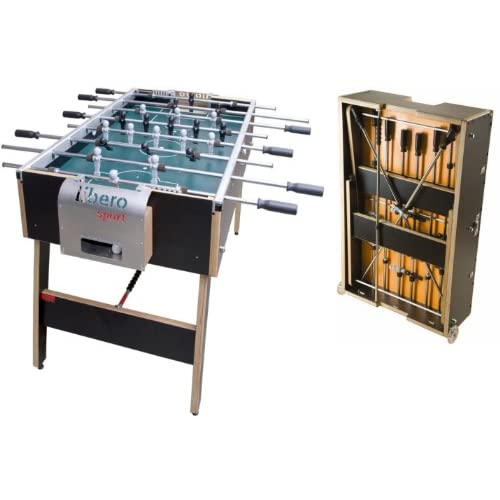 41vJCZVKv7L. SS500 The Libero is an extremely solid foosball table with all the characteristics of a professional tournament table. It is distinguished by its noble materials that are mounted in accurate handicraft. Fine technical innovations ensure delight in playing. Its sophisticated design is pure enjoyment. It only takes 3 minutes for anyone to convert the Libero into a box on wheels that is small enough to fit into the boot of your car to take it to the next party. Of course you don´t need any tools. Libero Sport: The small goal box is made of brushed aluminium focussing functionality. The Libero Sport is a pure fun-machine and a sporting ace. Of course, the Libero complies with all of the international measurement requirements and is used by plenty of professional players – and it has received high praise.