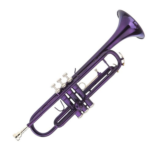 Mendini MTT-PL Purple Lacquer Brass Bb Trumpet + Tuner, Case, Stand, Mouthpiece, Pocketbook & More by Mendini by Cecilio (Image #1)