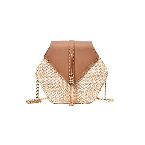 SMALLE ◕‿◕ Mini Crossbody Cell Phone Purse, Women Fashion Weave Leather Tassel Bag Crossbody Bag Shoulder Bag Handbags Brown - Ladies Pro Weave Fashion