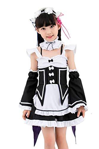 Kids Maid Costume Japan Anime Cosplay Re Zero Starting Life in Another World Lolita Fancy Dress (Medium) White/Black