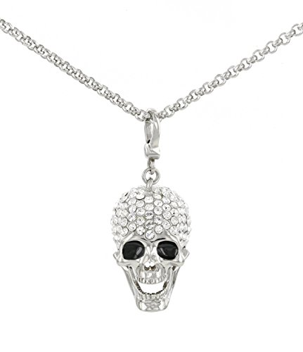 This jaw-dropping skull necklace is covered in sparkle. Has a separate hook and the jaw moves. Embellished with Swarovski crystals. Rhodium plated solid Brass skull & .925 SS 18