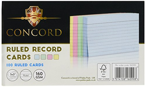 - Concord Record Card Smooth 127x77mm Assorted Ref 16099 [Pack of 100]