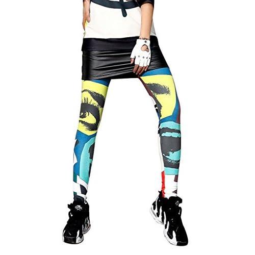 Top ELLAZHU Women Fashion Stretch Hippie Eyes Print Legging Pants Onesize GK201
