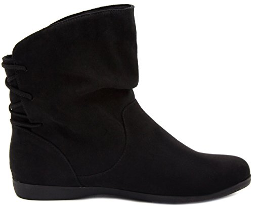 Slouched Bootie Ankle Boot Women's Flat Brooke Micro Sugar Black qEvHwfv