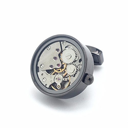 The Little Link Watch Movement Mechanical cufflinks with giftbox (Kenny) - Business Wedding Gift Present (Mechanical Watch Cufflinks)