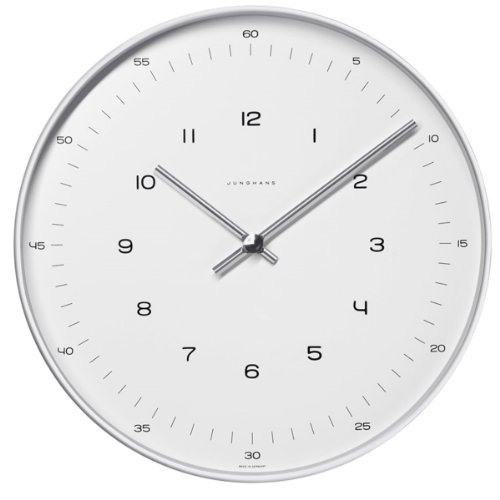 Max Bill clock.30cm diam. Stainless steel case. Quartz movement. Mineral glass face with ()
