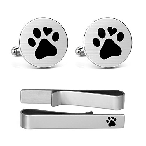 Paw Print Tie - MUEEU Animal Cufflinks Pet Dog Cat Paw Print Round Cuf flink Tie Clips Set Engraved Personalized Gifts (Round Cufflinks and tie Clip)