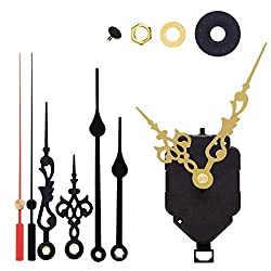 Non-Ticking Hands Quartz DIY Wall Pendulum Clock Movement Mechanism DIY Repair Parts Replacement with 3 Different Pairs of Hands, 15/32 Inch Maximum Dial Thickness, 7/8 Inch Total Shaft Length