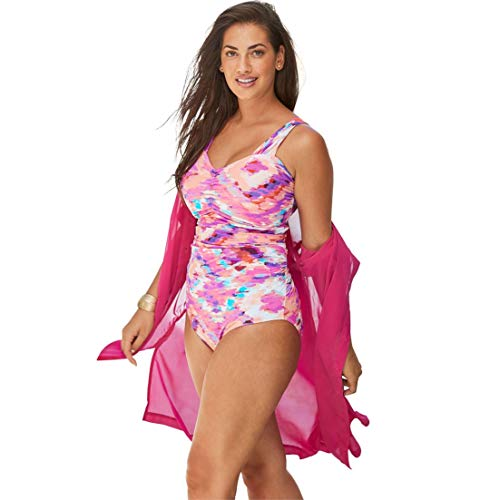 Swimsuits For All Women's Plus Size Shirred One-Piece with Molded Cups - Pink Batik Tie Dye, 14 ()