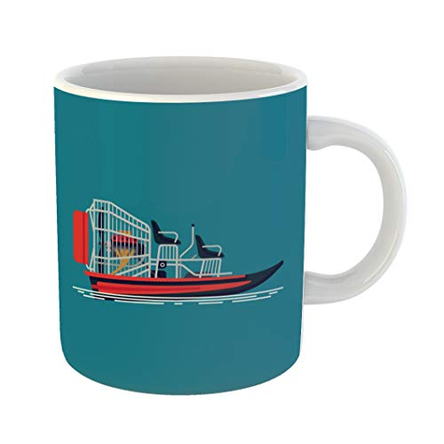 Emvency Coffee Tea Mug Gift 11 Ounces Funny Ceramic Cool on Recreational Water Activity and Ecotourism Airboat Fanboat Attraction Gifts For Family Friends Coworkers Boss Mug