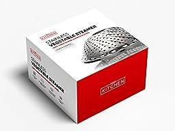 REDKitchen 100% Stainless Steel Vegetable Steamer - Improved Design: 30% Longer Legs & Handle for Safety