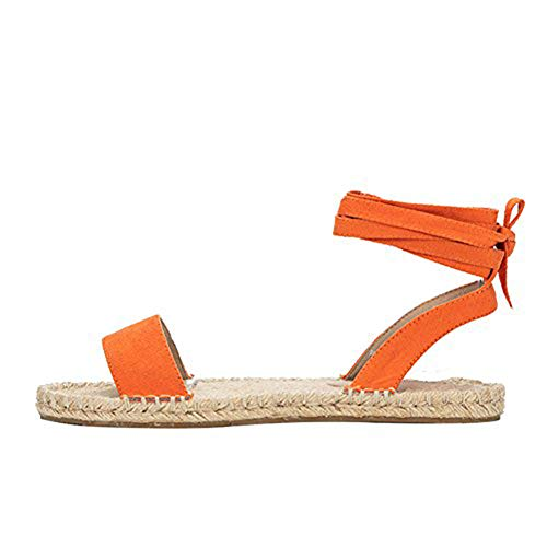 Holiday Womens Sandals (LALA IKAI Platform Espadrille Sandals Orange Strappy Espadrilles Flats Lace up Open Toe Sandal Holiday Shoes)