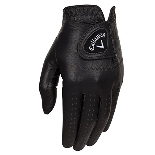 Men Golf Glove (Callaway Golf 2017 Men's OptiColor Leather Glove, Black, Large, Worn on Left Hand)