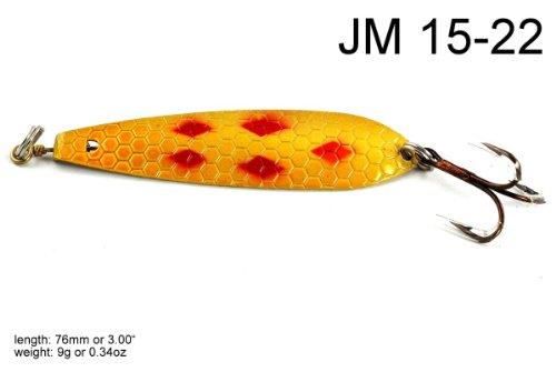 Salmon Trolling Spoon (Akuna Trolling Spoon Fishing Lure for Northern Pike, Salmon, Walleye and Largemouth Bass, 3-Inch, Five of Diamonds Mustard)