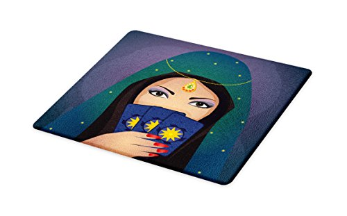 Lunarable Gypsy Cutting Board, Fortune Teller Woman with a Shawl Holding Tarot Cards Mysterious Young Lady Portrait, Decorative Tempered Glass Cutting and Serving Board, Small Size, Multicolor -