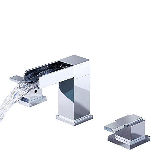 (Lovedima Mero Waterfall Modern Widespread Bathroom Sink Faucet 2 Handles Chrome)