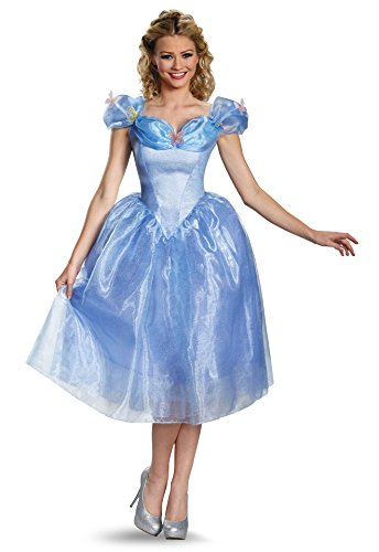 Disguise Women's Cinderella Movie Adult Deluxe Costume, Blue, (Cinderella Costumes Womens)