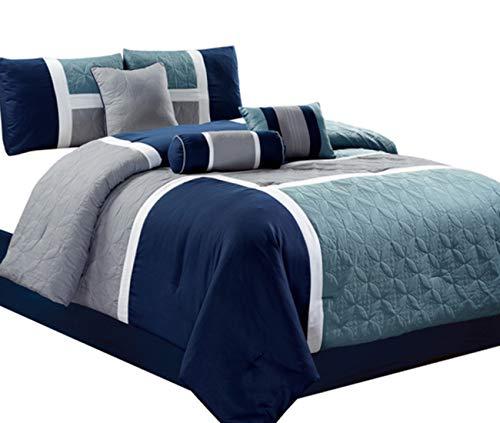 - Luxlen 7 Piece Luxury Bed in Bag Comforter Set, Closeout, Queen, Navy