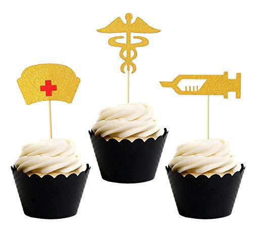 Topfun Nurse Graduation Cupcake Toppers Gold Glitter Cake Toppers Food Picks for Nursing Graduation Medical Rn Themed Nursing Grad Party Decorations -
